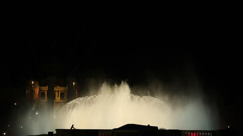 Magic fountain Barcelona at night color yellow Footage