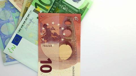 Euro banknotes drop down white loop Footage