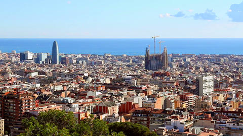 Zoom in on city Barcelona and Sagrada Familia Footage