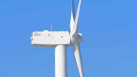 Wind turbine spinning close up side Footage