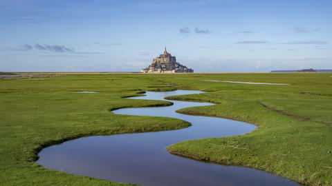 Mont Saint-Michel, France - Timelapse - Small river in the Foreground Footage