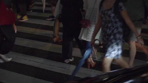 Pedestrian / crosswalk / crowd (night view) Footage
