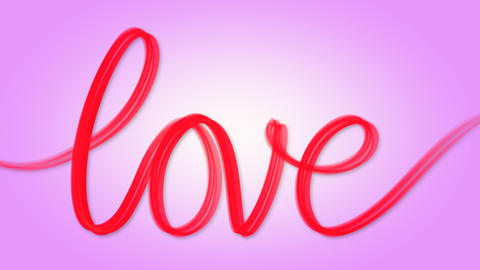 Word love written red on pink Animation