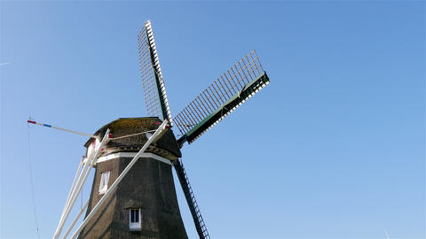 Rotate head of historic windmill Footage