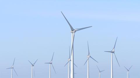 Group of wind turbines heads Footage