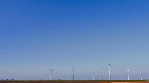 Ultra wide shot sky and wind turbines Footage