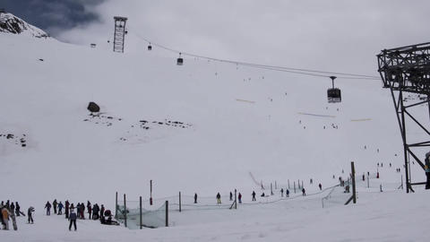 Timelapse panoramic ski slopes are snowed and means of transport that lead to th Live Action