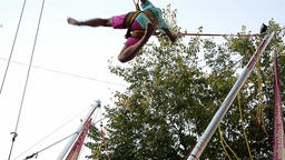 Girl who jumps on a trampoline underpinned by resilient strip 02 Footage