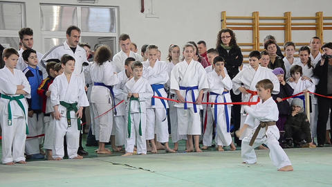 Martial arts competition attended by a group of children under the close supervi Footage