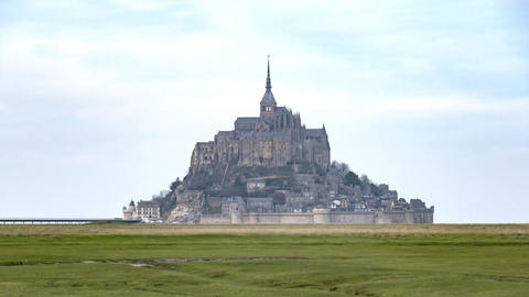 Mont Saint-Michel, France, Timelapse - Zoom on the Mont Stock Video Footage
