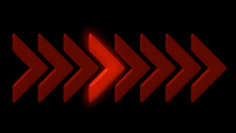 shiny red arrow,emergency exit sign,game or software process.particle,material,t Animation