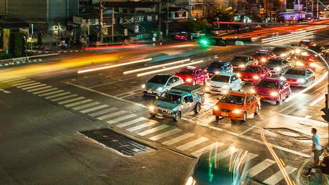 1080p - TRAFFIC AT NIGHT - BANGKOK TIME LAPSE Stock Video Footage