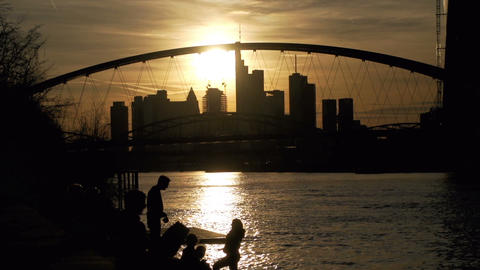 Backlight silhouette of Frankfurt Stock Video Footage