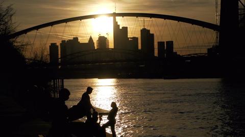 Backlight silhouette of Frankfurt Stock Video Footage