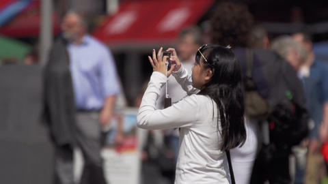 Asian woman making photo with mobile phone Stock Video Footage
