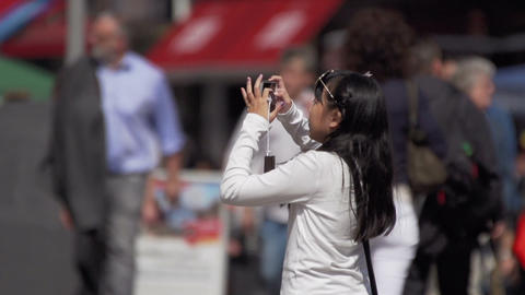 Asian woman making photo with mobile phone Footage