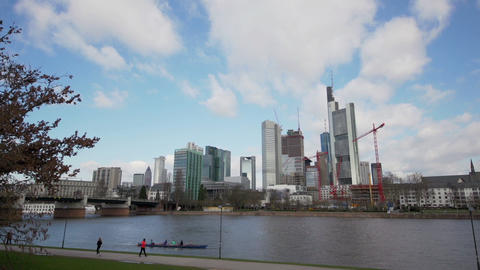 Cityscape of Frankfurt - Financial district Stock Video Footage