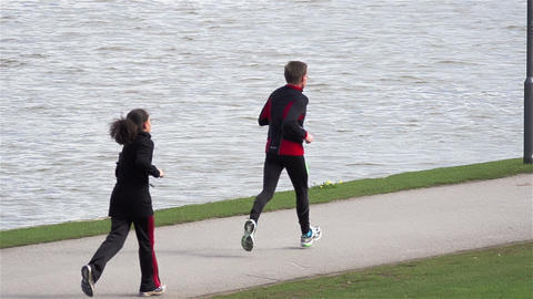 Jogging by the river Footage