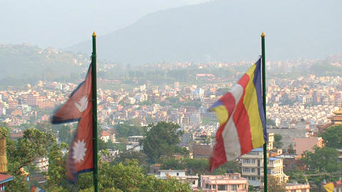 Nepal and Buddhist flag Stock Video Footage