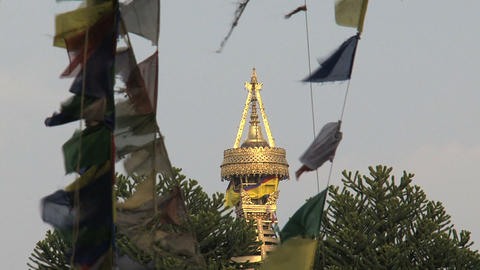 Top of the swayambhunath stupa,monkey temple betwe Stock Video Footage