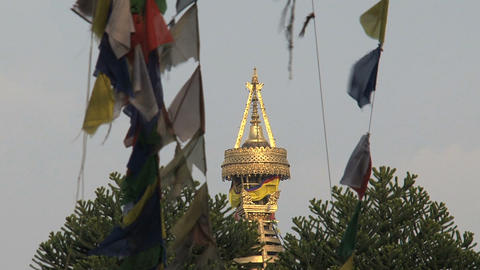 Top of the swayambhunath stupa,monkey temple betwe Footage