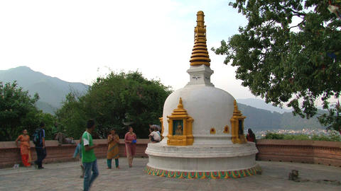 People at the swayambhunath stupa Stock Video Footage