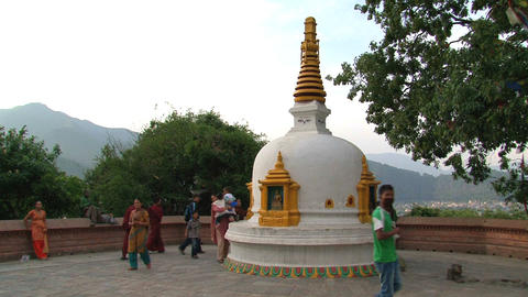 People at the swayambhunath stupa Stock Video Footage