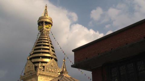 Tilt swayambhunath stupa/monkey temple Stock Video Footage