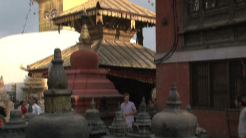 Tilt swayambhunath stupa/monkey temple Stock Video Footage