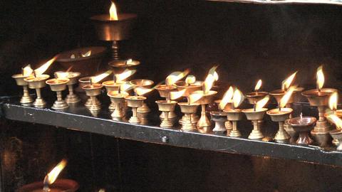 Candles at the Swayambhunath stupa Stock Video Footage