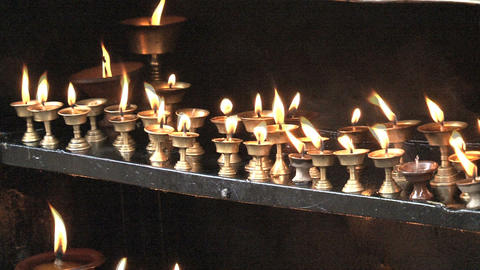 Candles at the Swayambhunath stupa Stock Video Footage