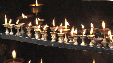 Candles at the Swayambhunath stupa Footage
