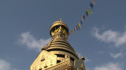 Golden top of the Swayambhunath stupa, monkey temp Stock Video Footage