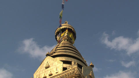Golden top of the Swayambhunath stupa, monkey temp Footage