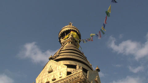 Golden top of the Swayambhunath stupa, monkey temp Stock Video Footage
