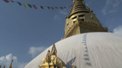 Tilt from the prayer wheel to the Swayambhunath st Footage