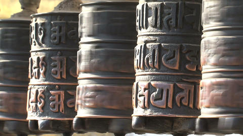 Close up spinning prayer wheels Stock Video Footage
