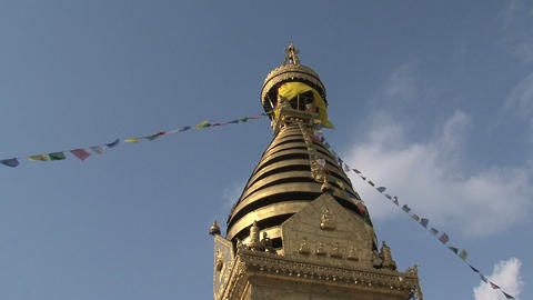 Swayambhunath stupa, monkey temple with prayer fla Stock Video Footage