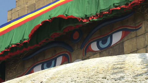 Close up from the eyes of the Boudhanath Stupa Footage