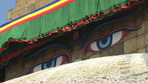 Close up from the eyes of the Boudhanath Stupa Stock Video Footage
