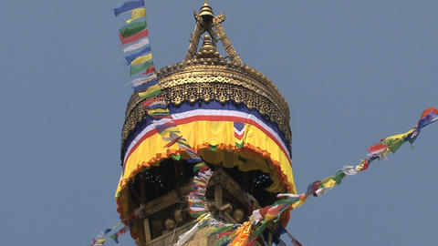 Prayer flags on the top of the Boudha stupa Footage