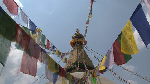 Prayer flags at the Boudha stupa Stock Video Footage