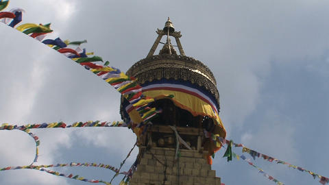 Close up of the top of the Boudha stupa Stock Video Footage