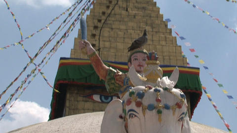 Tilt from the top of the Boudha stupa Stock Video Footage