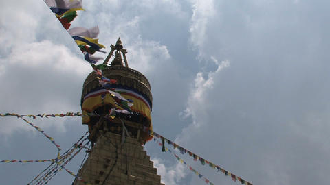Prayer flags in the wind reaching the top of the B Stock Video Footage