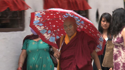 Older monk walking with an umbrella Stock Video Footage