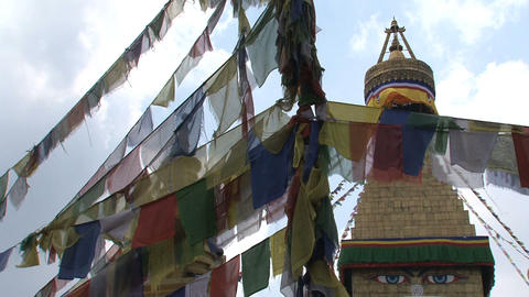 Prayer flags with the Boudhanath Stupa Footage