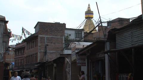 Street behind the Boudhanath Stupa Footage