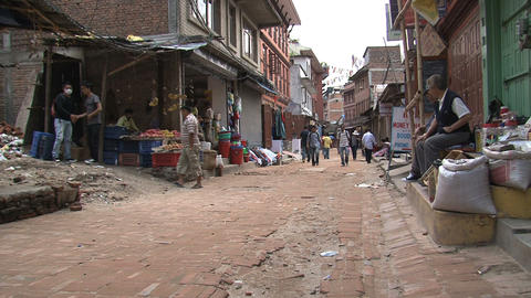 Street behind the Boudhanath Stupa Footage