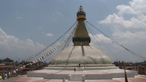 Wide shot from the Boudha stupa with a tilt down Stock Video Footage